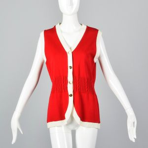 Small 1960s Vest Red Knit with Gold Buttons White Trim Gathered Cable Knit Waist