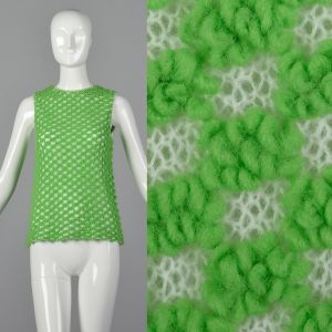 Small 1960s Green Sweater Tank Top Textured Semi-Sheer Sleeveless Loop Knit