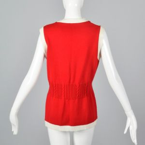 Small 1960s Vest Red Knit with Gold Buttons White Trim Gathered Cable Knit Waist - Fashionconstellate.com