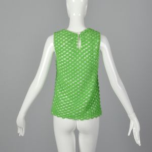 Small 1960s Green Sweater Tank Top Textured Semi-Sheer Sleeveless Loop Knit - Fashionconstellate.com
