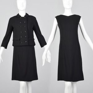 XS 1960s Saks Fifth Avenue Two Piece Dress Set Black Boxy Double Breasted Jacket Sleeveless Top