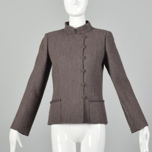 Small 1980s Brown Blazer Jacket Minimalist Asymmetrical Details Mandarin Collar