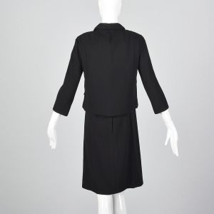 XS 1960s Saks Fifth Avenue Two Piece Dress Set Black Boxy Double Breasted Jacket Sleeveless Top - Fashionconstellate.com