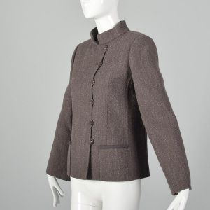 Small 1980s Brown Blazer Jacket Minimalist Asymmetrical Details Mandarin Collar  - Fashionconstellate.com