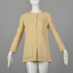Small 1960s Wool Jacket Minimalist Cream Hip Length Patch Pockets Simple Buttons