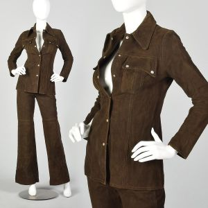 XXS Suede Outfit 1970s Brown Leather Bellbottoms Long Sleeve Top Boho Hippie Style
