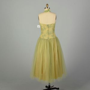Small 1980s Dress Green Lace Tulle Prom Gown - Fashionconstellate.com