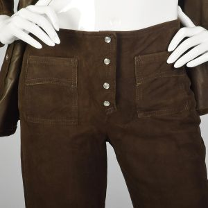 XXS Suede Outfit 1970s Brown Leather Bellbottoms Long Sleeve Top Boho Hippie Style - Fashionconstellate.com