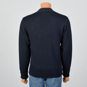 Medium 1970s Mens Sweater Navy Knit Long Sleeve V-Neck Red L and Heart Lettermen Style Patches - Fashionconstellate.com
