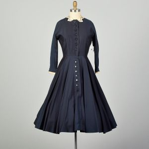 Small 1950s L'Aiglon Dress Navy Blue Fit and Flare Damaged As Is