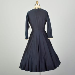Small 1950s L'Aiglon Dress Navy Blue Fit and Flare Damaged As Is - Fashionconstellate.com