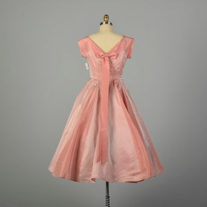 Medium 1950s Dress Pink Fit and Flare Circle Skirt Prom Evening Gown - Fashionconstellate.com
