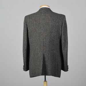 Large 43L 1970s Mens Harris Tweed Gray Jacket Two Button Convertible Pockets Wide Lapel Single Vent  - Fashionconstellate.com