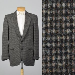 Large 43L 1970s Mens Harris Tweed Gray Jacket Two Button Convertible Pockets Wide Lapel Single Vent