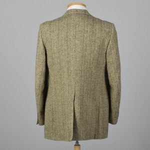 Large 41L 1970s Tweed Suit Jacket Convertible Pocket Wide Lapels Single Vent Tan Gray  - Fashionconstellate.com