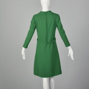 Small 1960s Adele Simpson Green Dress Wool Knee Length Long Sleeve - Fashionconstellate.com