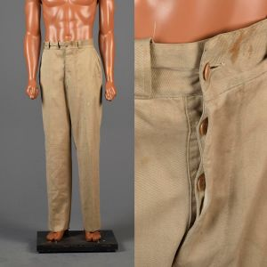 Medium 1940s Mens Pants Button Fly Distressed Twill Trousers