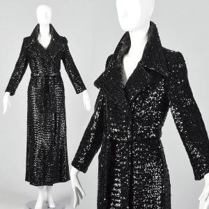 XS 1970s Glamorous Black Sequin Trench Coat Wrap Overcoat