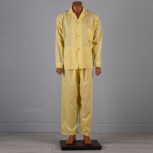 XL 1960s Yellow Pajamas Lightweight Sleepwear White Trim Loungewear PJs - Fashionconstellate.com