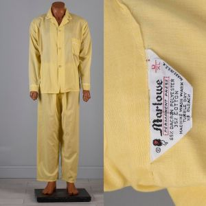 XL 1960s Yellow Pajamas Lightweight Sleepwear White Trim Loungewear PJs