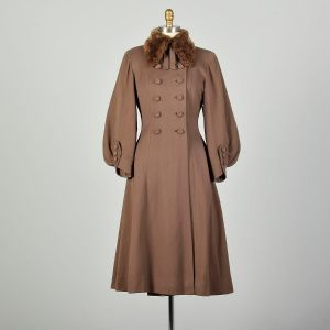 XXS 1940s Princess Coat Sheared Fur Collar Brown Double Breasted Statement Sleeves