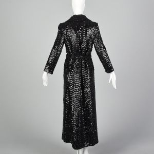 XS 1970s Glamorous Black Sequin Trench Coat Wrap Overcoat - Fashionconstellate.com