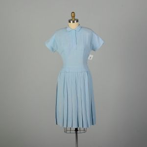 Large 1950s Day Dress Baby Blue Rayon Drop Waist Pleated