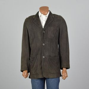 Small-Medium 1980s Jacket Green Suede Leather Three Button Coat