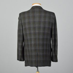 Large 41L 1970s Mens Green Blue Shadow Plaid Jacket Convertible Pockets Single Vent  - Fashionconstellate.com