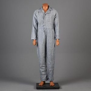 Small Mens 1960s Coveralls Light Blue Striped Cotton Twill Long Sleeve Full Body Mechanics Workwear - Fashionconstellate.com