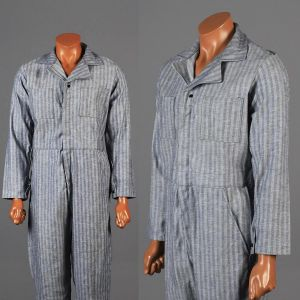 Small Mens 1960s Coveralls Light Blue Striped Cotton Twill Long Sleeve Full Body Mechanics Workwear