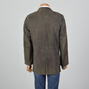 Small-Medium 1980s Jacket Green Suede Leather Three Button Coat - Fashionconstellate.com