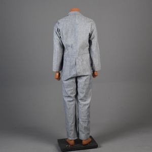 Small 1960s Coveralls Light Blue Striped Cotton Twill Full Body Mechanics Workwear - Fashionconstellate.com