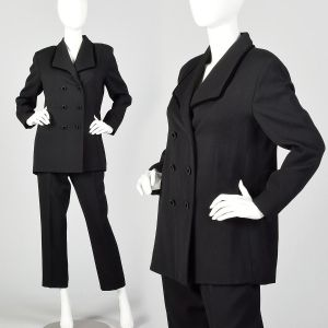 Medium 1990s Black Suit Double Breasted Blazer Jacket High Waisted Pants Two Piece Set