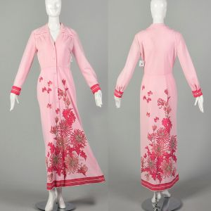 Small 1970s Alfred Shaheen Maxi Dress Long Sleeve Pink Signature Print Floral Dress