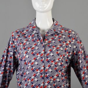 Large 1970s Top Red White and Blue Geometric Print Long Sleeve Cotton Button Down Shirt - Fashionconstellate.com