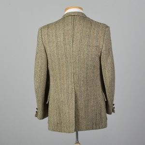 Large 41R 1970s Mens Harris Tweed Tan Jacket Patch Pockets Single Vent Wide Lapels Herringbone - Fashionconstellate.com