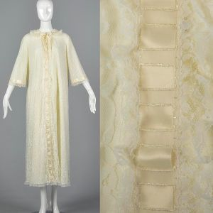 Large Ivory White Peignoir 1970s Long Lace Trim Dressing Gown Bridal Lingerie Honeymoon Robe