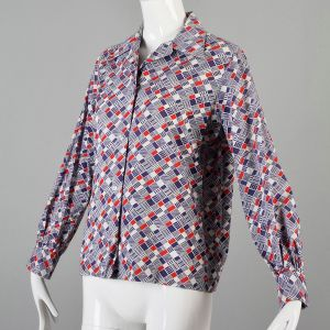 Large 1970s Top Red White and Blue Geometric Print Long Sleeve Cotton Button Down Shirt