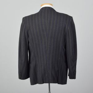 Large 41L 1950s Mens Striped Wool Jacket Convertible Pockets Slim Lapel Double Vent Gray Blue Stripe - Fashionconstellate.com