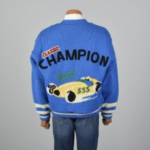 XL 1990s Cardigan Blue Knit Sherpa Lining Novelty Race Car Rib Winter Sweater Jacket Long Sleeve - Fashionconstellate.com