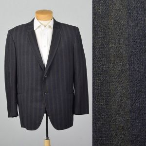 Large 41L 1950s Mens Striped Wool Jacket Convertible Pockets Slim Lapel Double Vent Gray Blue Stripe