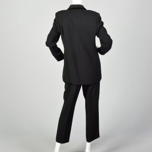 Medium 1990s Black Suit Double Breasted Blazer Jacket High Waisted Pants Two Piece Set - Fashionconstellate.com
