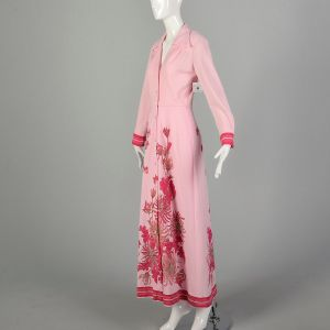 Small 1970s Alfred Shaheen Maxi Dress Long Sleeve Pink Signature Print Floral Dress - Fashionconstellate.com