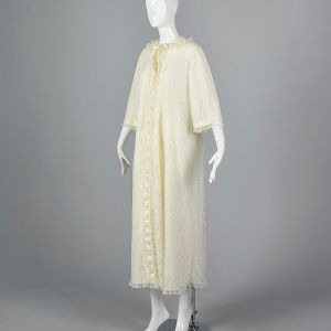 Large Ivory White Peignoir 1970s Long Lace Trim Dressing Gown Bridal Lingerie Honeymoon Robe - Fashionconstellate.com