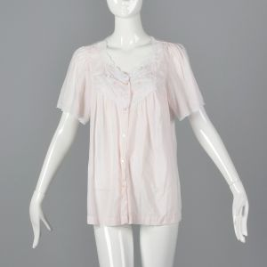 XS 1960s Pajama Top Pink Button Down Short Sleeve Embroidered Roses White Lace Trim