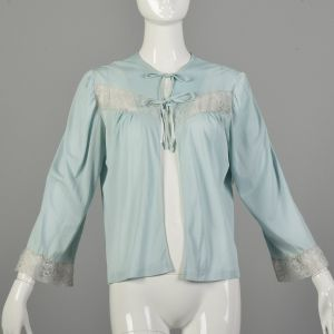 Small 1960s Light Blue Lingerie Cover-Up Bed Jacket
