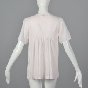 XS 1960s Pajama Top Pink Button Down Short Sleeve Embroidered Roses White Lace Trim - Fashionconstellate.com