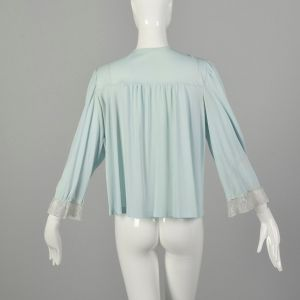 Small 1960s Light Blue Lingerie Cover-Up Bed Jacket  - Fashionconstellate.com