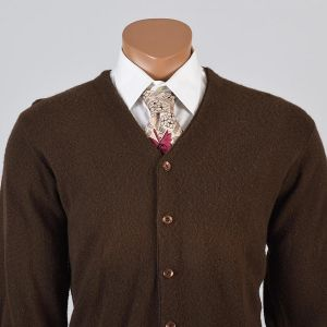 Medium Mens 1960s Sweater Brown Knit Long Sleeve V-Neck Cardigan Long Sleeve - Fashionconstellate.com